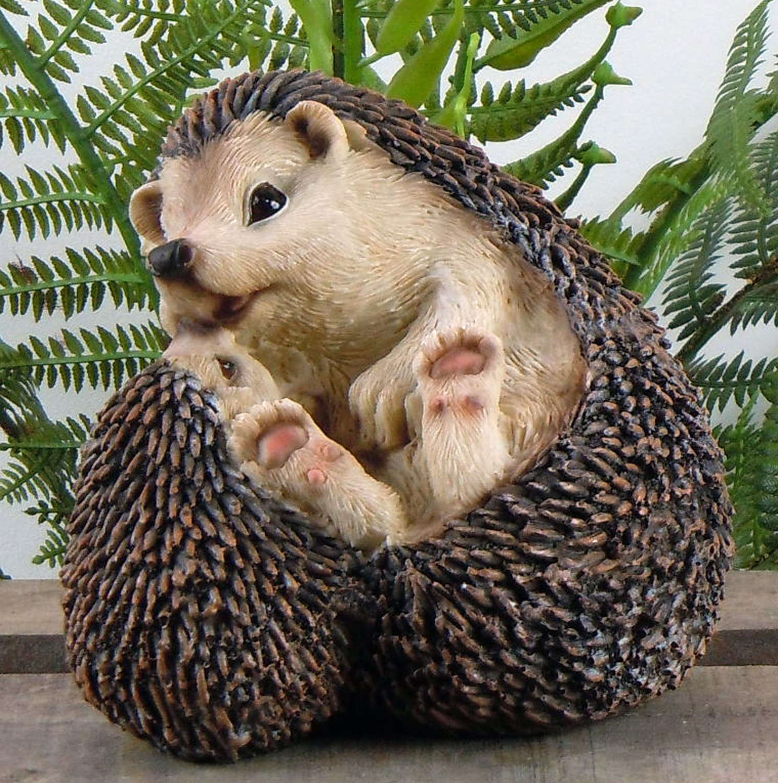 Hedgehog with Baby garden ornament