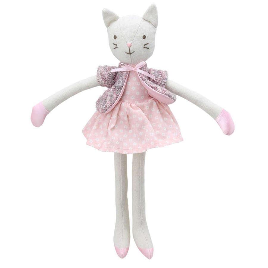 Wilberry Linen Cat wearing a pink dress