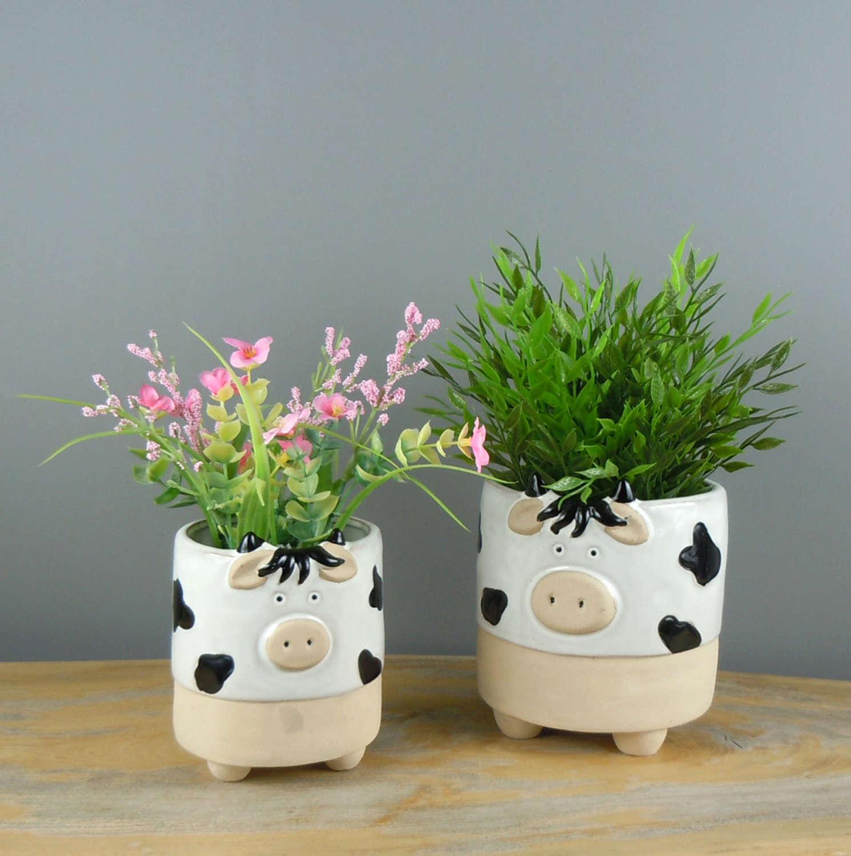 Semi glazed Cow plant pots