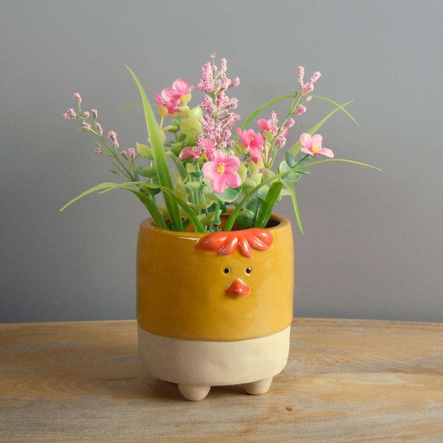 Semi glazed Chicken plant pot