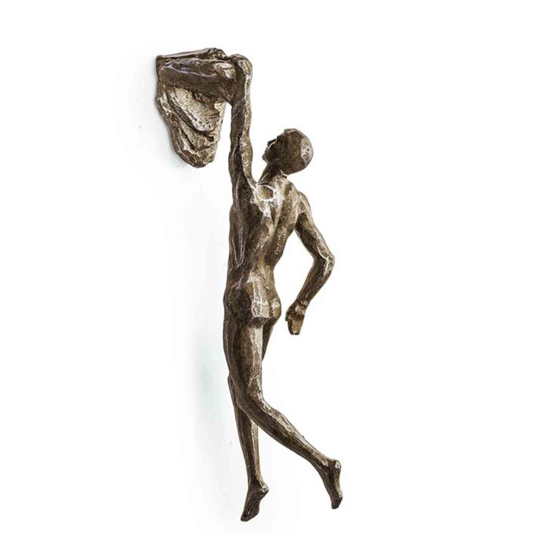 Antique Bronze rock climbing Man