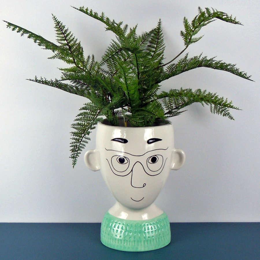Doodle Man's Face Vase planter