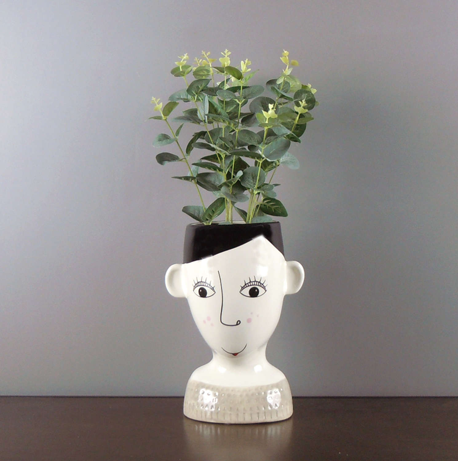 Ceramic Doodle Woman's face with freckles vase