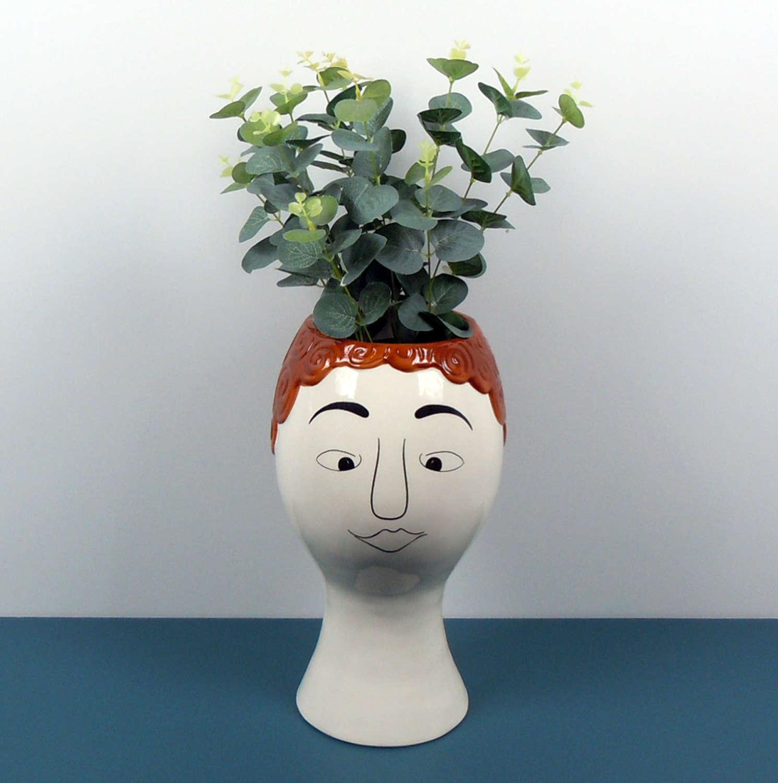 Ceramic Doodle Redhead Man's face vase