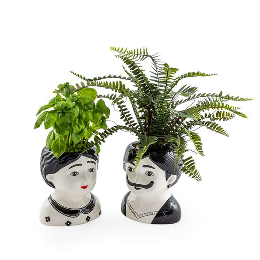 Black and white Man and Woman ceramic pots