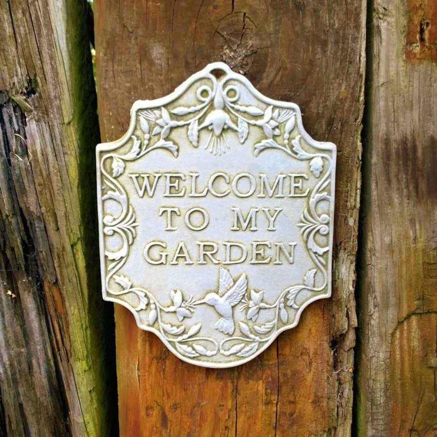 Stoneware Welcome to my Garden plaque