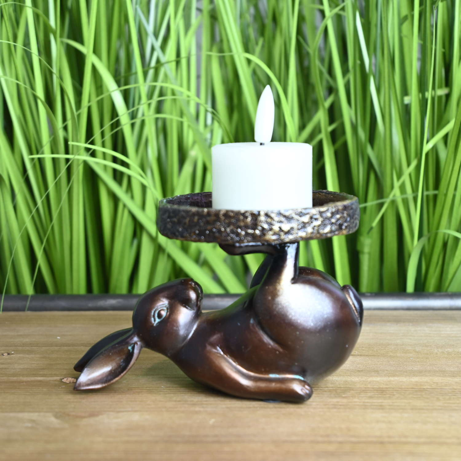 Bronze effect Rabbit candle holder