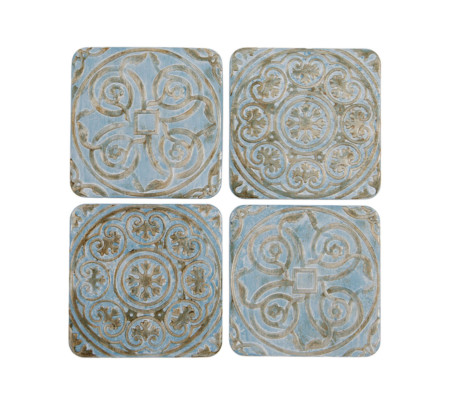 Set of four embossed blue ceramic coasters