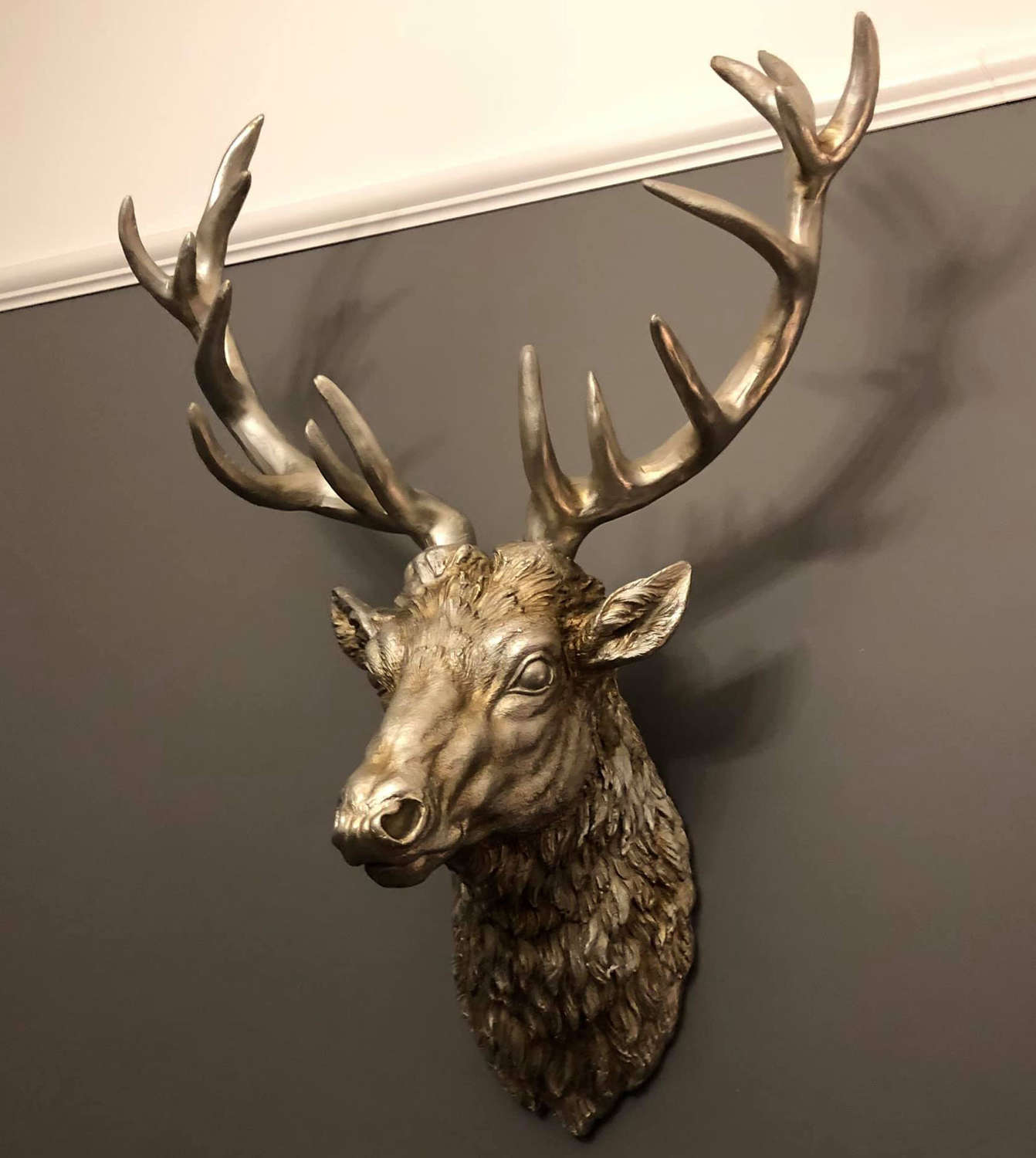 Large antique silver wall mounted Stag head