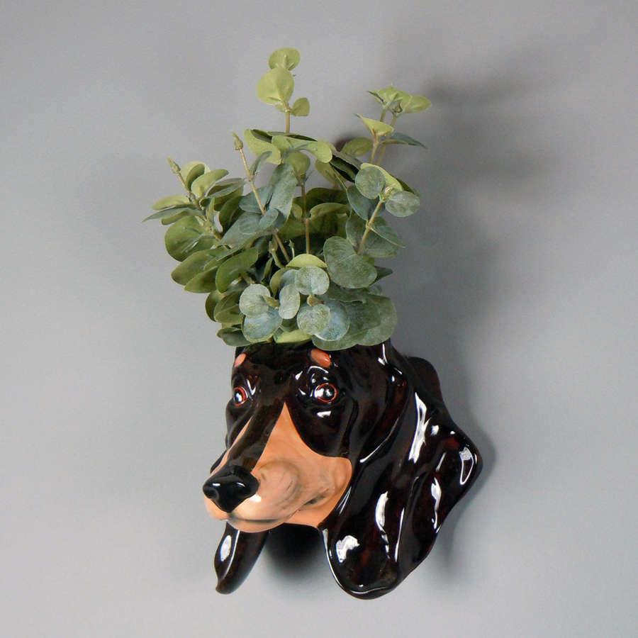 Ceramic Dachshund head wall planter
