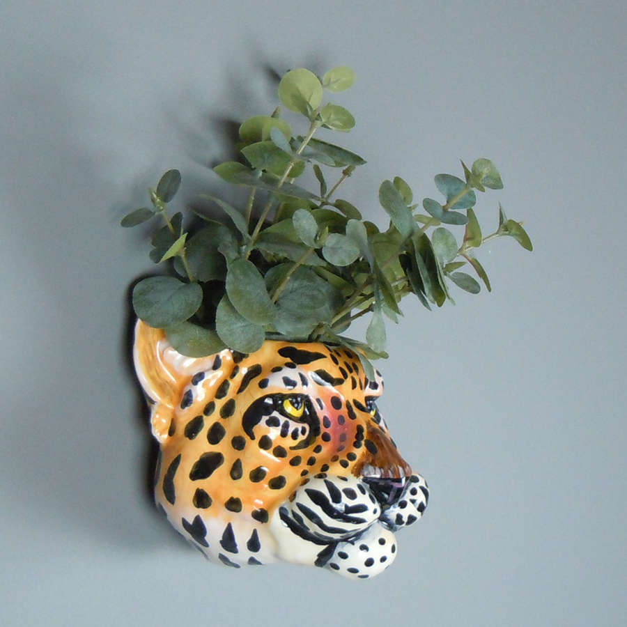 Ceramic Leopard head wall planter