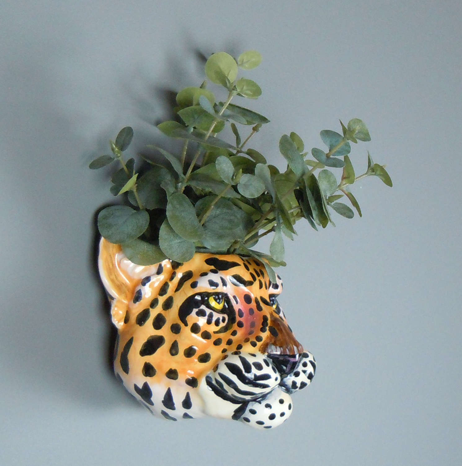 Ceramic Leopard head wall planter