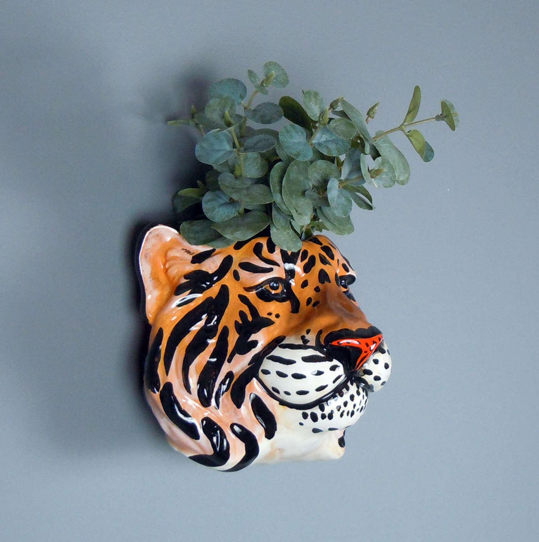Ceramic Tiger head wall planter