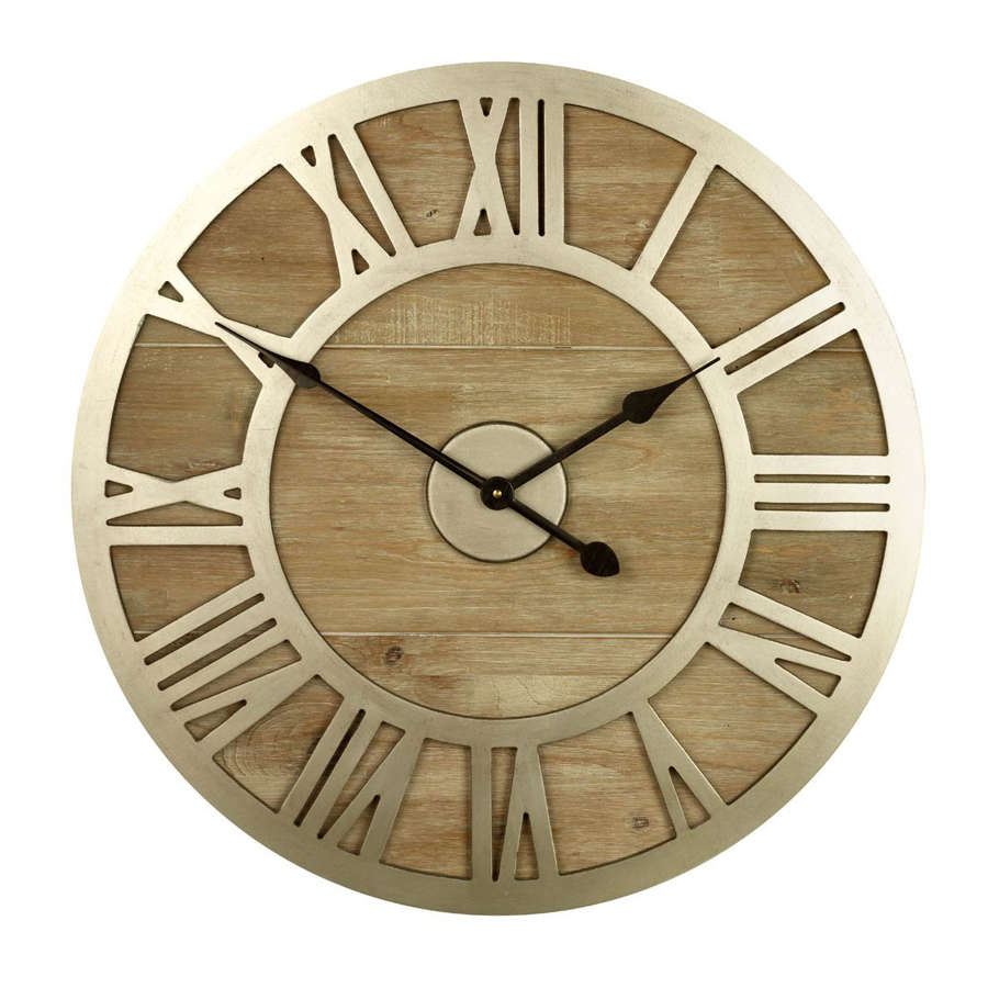 Albus wood and metal clock