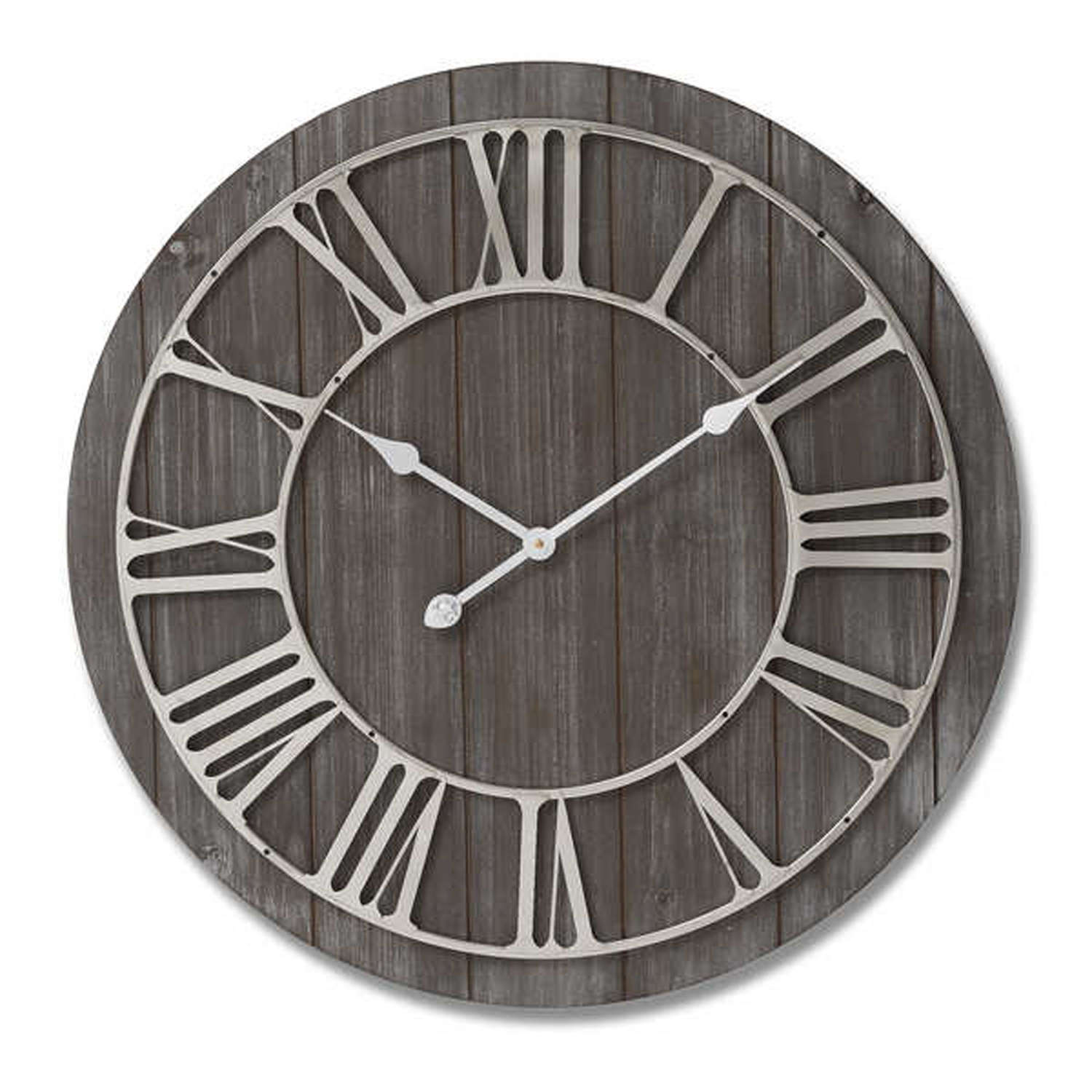 Wooden clock with nickel detail