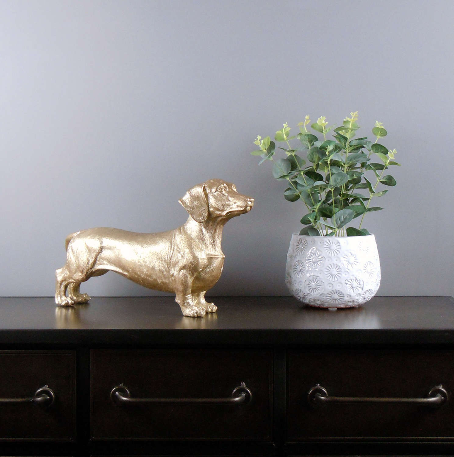 Metallic antique gold Dachshund Dog