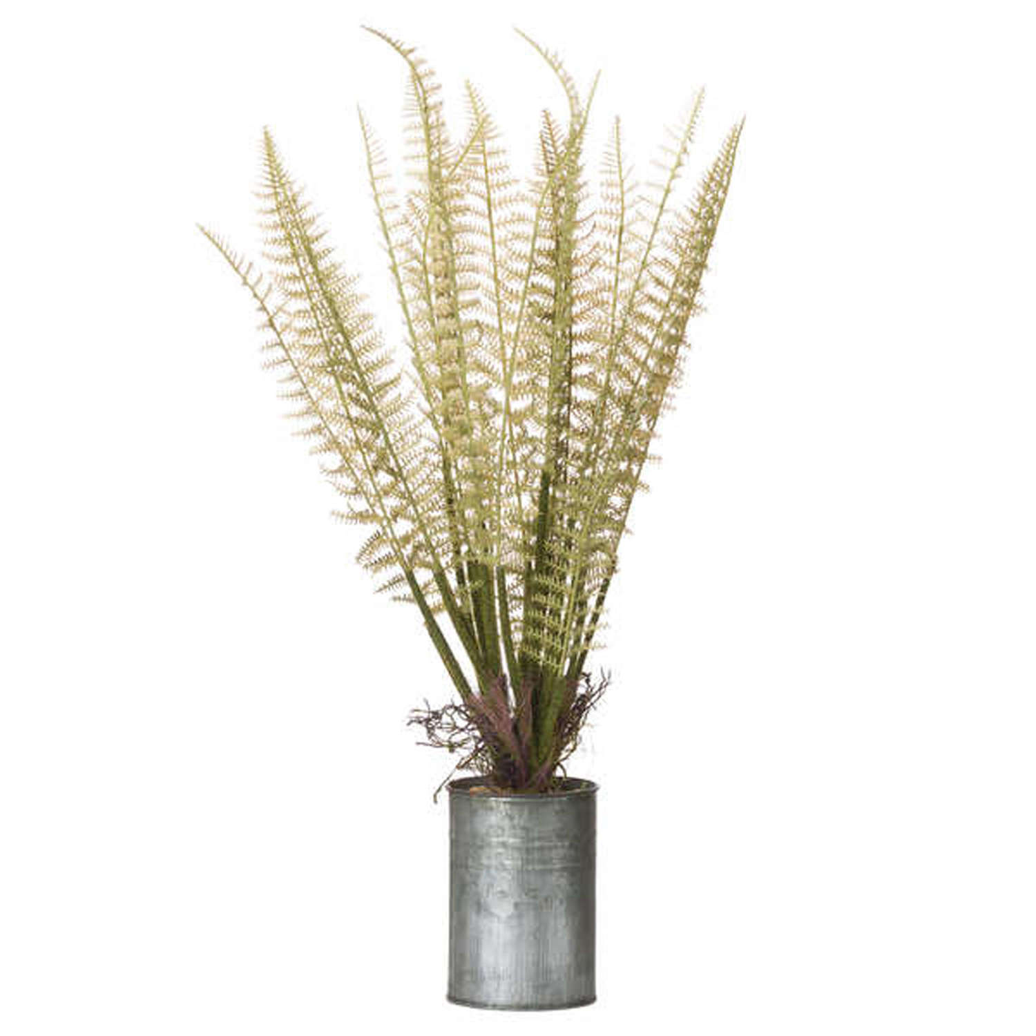 Faux Fern in tin can