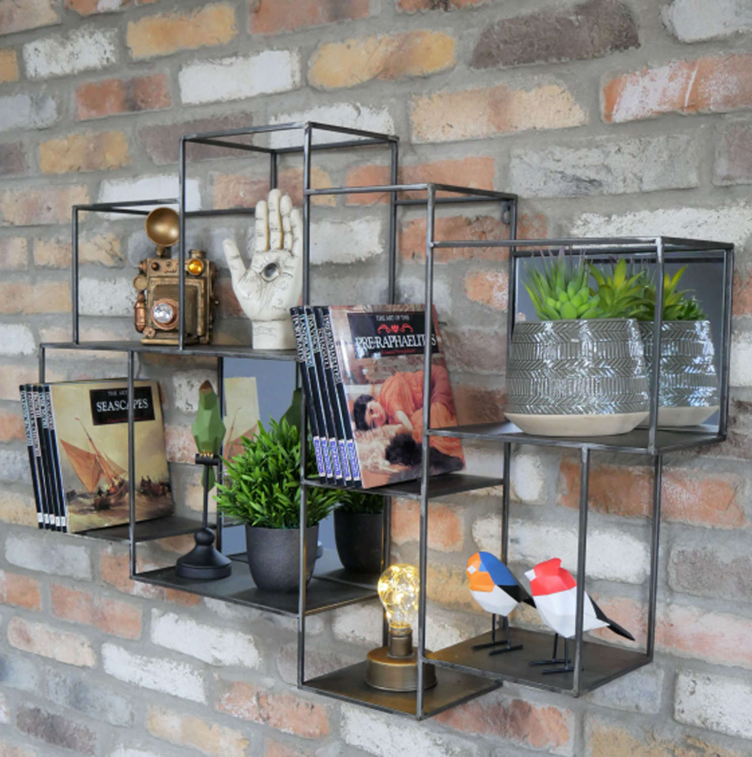 Industrial metal wall shelving with mirrors