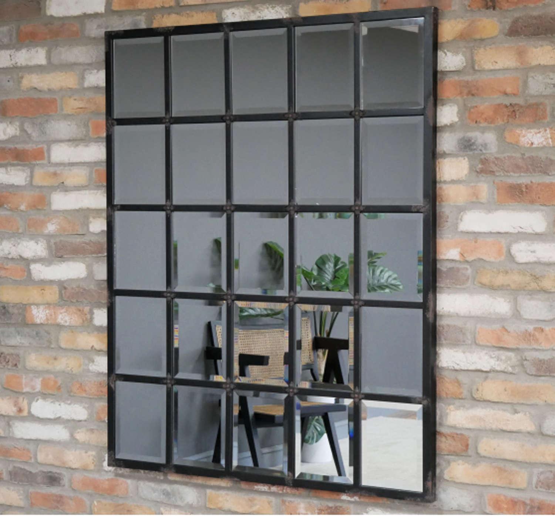 Industrial rustic metal bevelled mirror