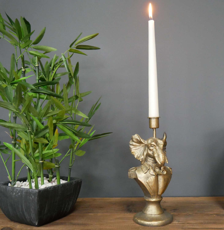 Antique gold Elephant candle holder