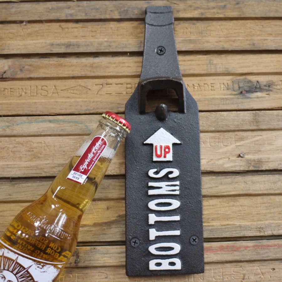 Cast iron wall hanging bottle opener