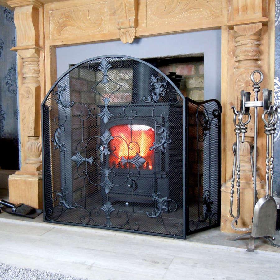 Black ornate style fire screen