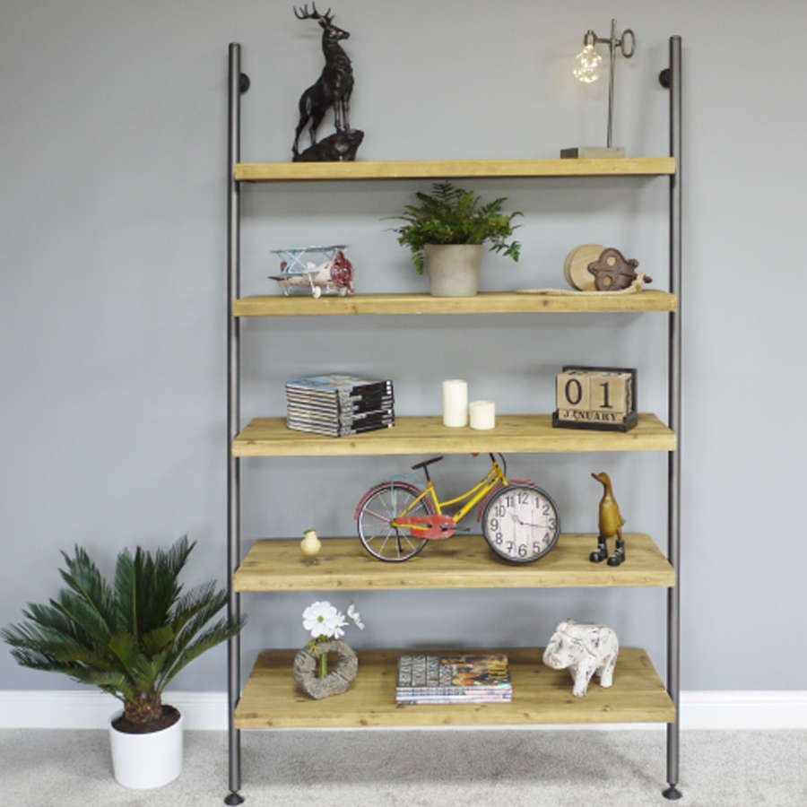 Urban industrial style wide ladder shelving unit
