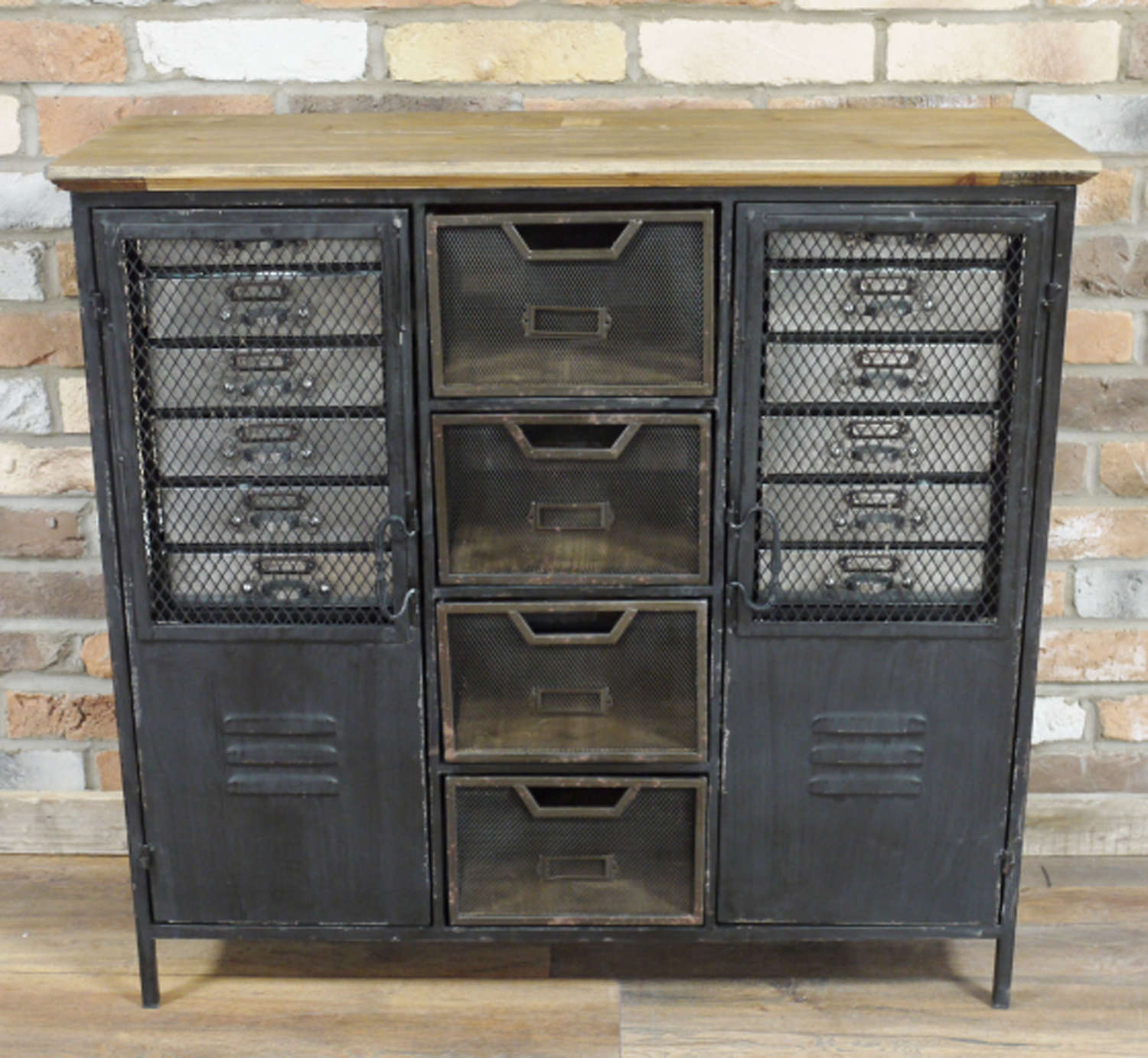 Industrial metal cabinet with drawers