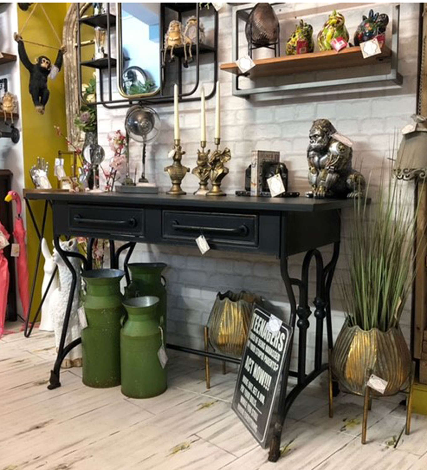 Industrial black metal desk console table