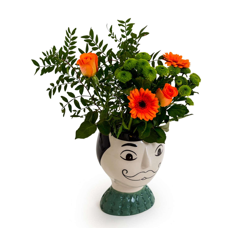 Doodle Man's Face with moustache Vase