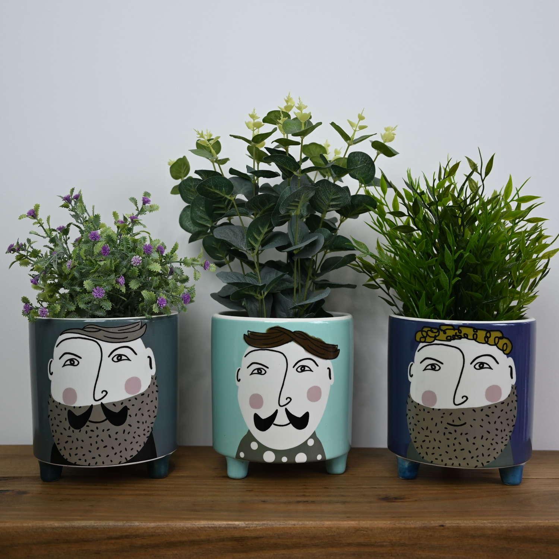 Hipster Gent Face ceramic plant pots