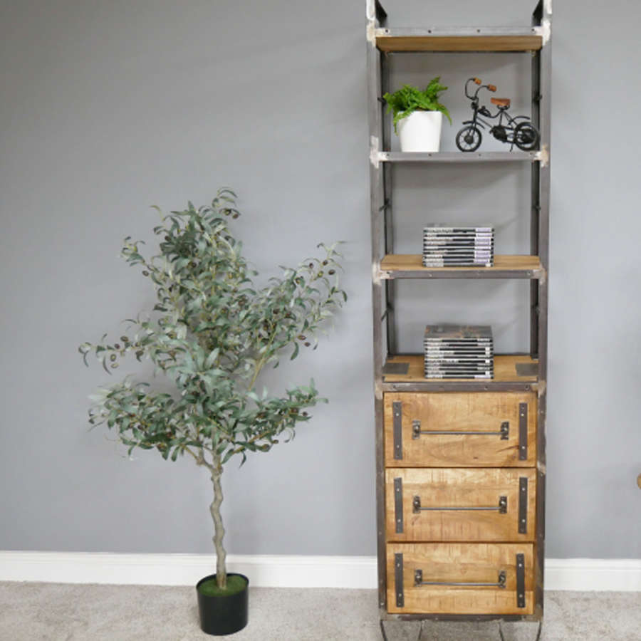 Industrial style Mango wood and iron shelving unit with drawers