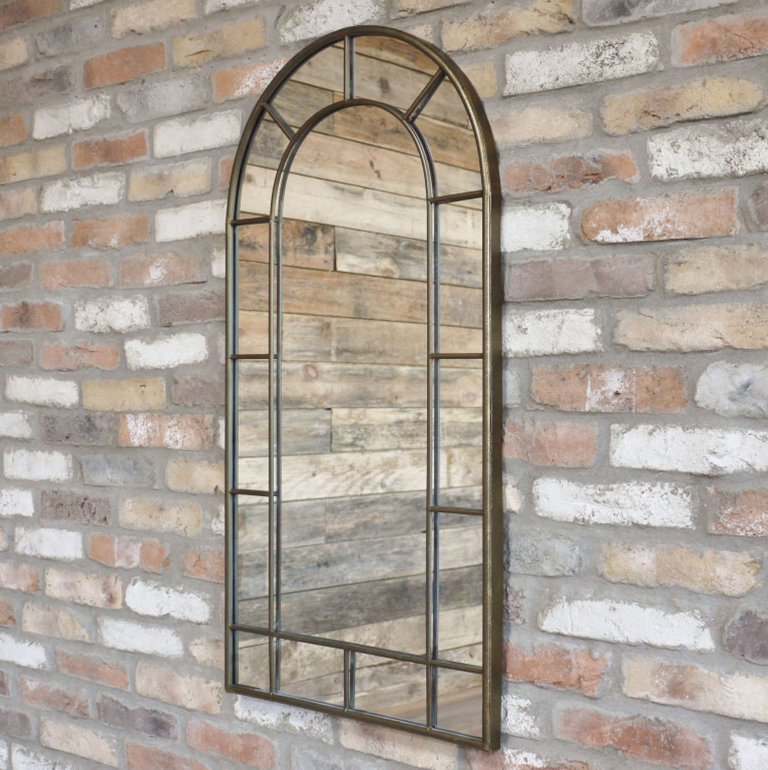 Antique gold metal arched window mirror