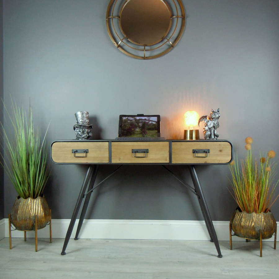 Retro style wood and metal desk with drawers