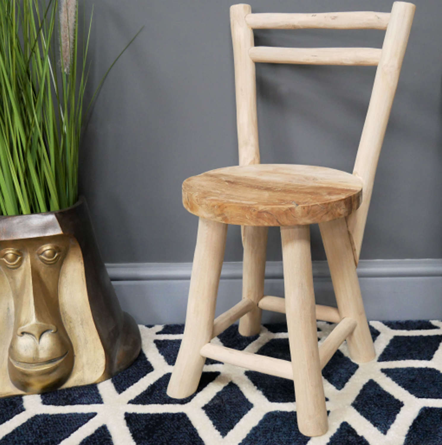 Solid wood mini chair made from Teak