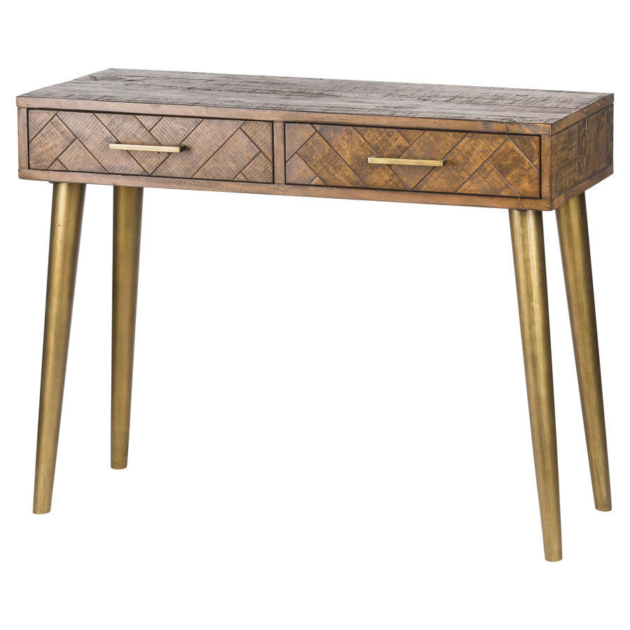 Handcrafted parquet console table with two drawers