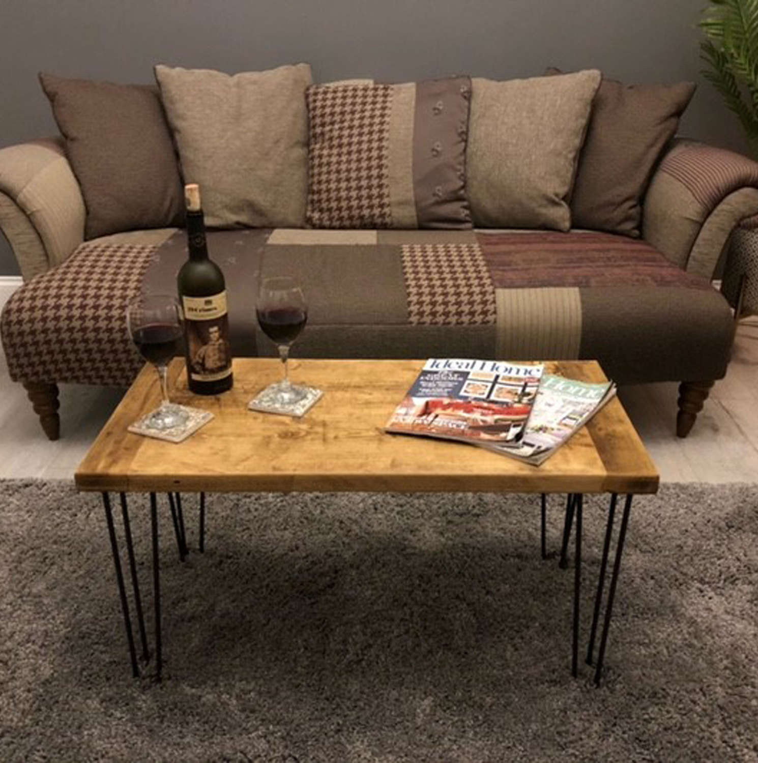 Reclaimed timber coffee table with hairpin legs