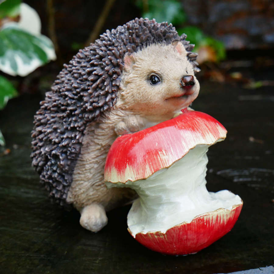 Hedgehog with apple garden ornament