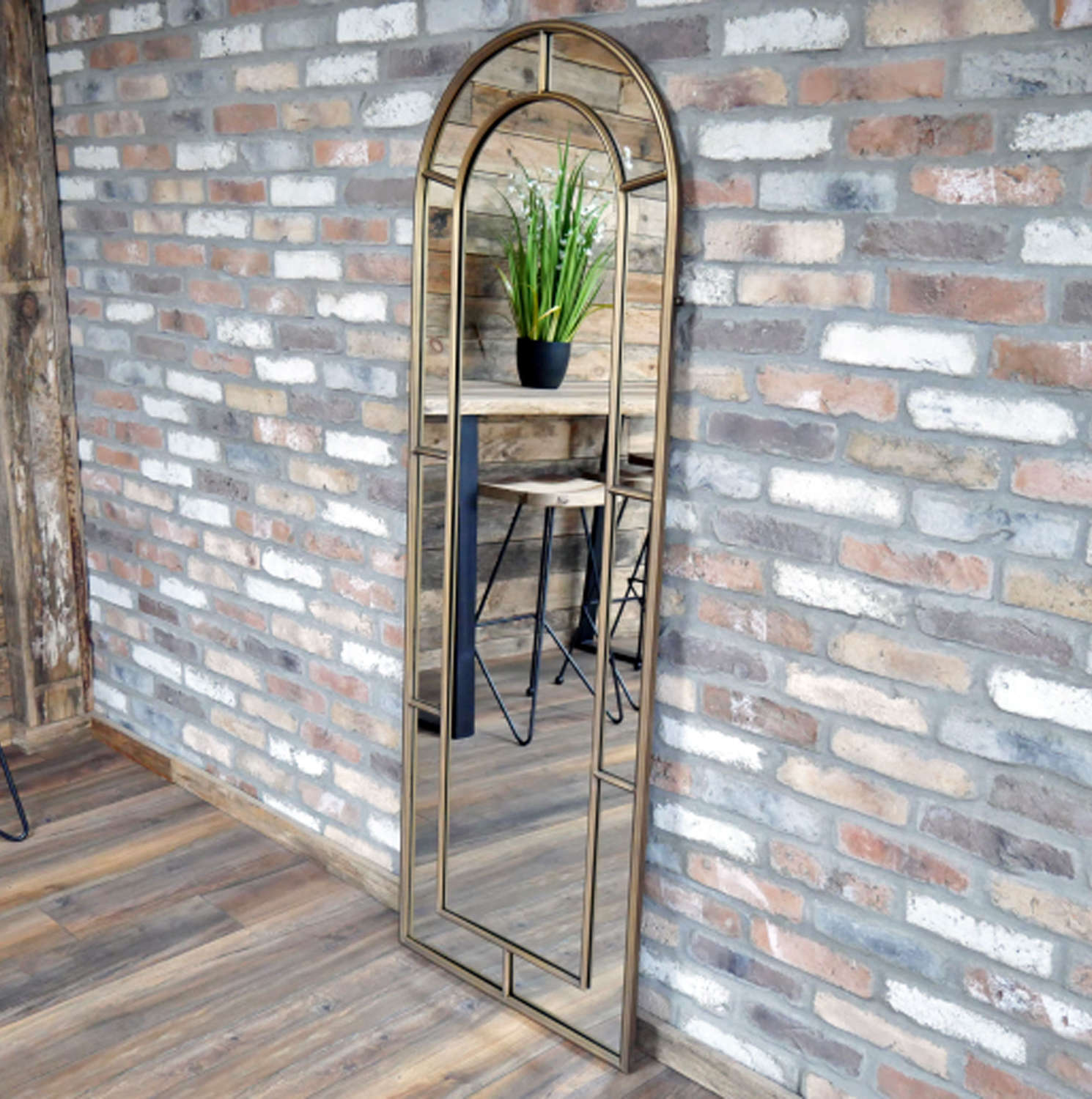 Antique gold large metal arched window mirror