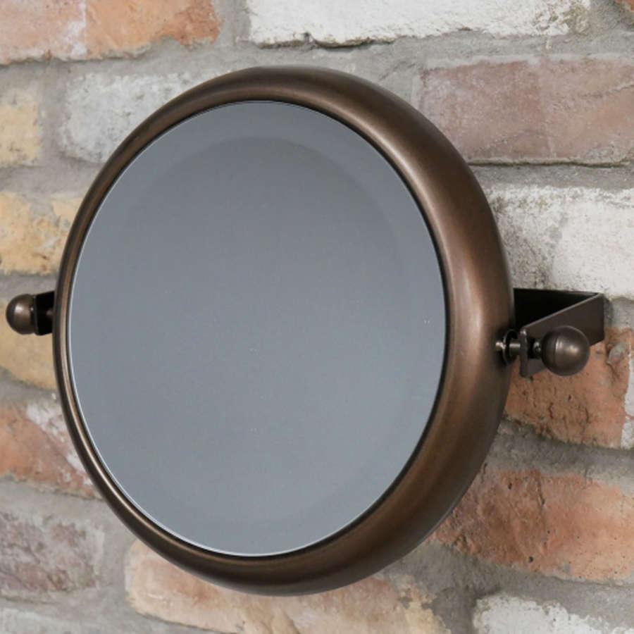 Urban industrial bronzed round metal mirror