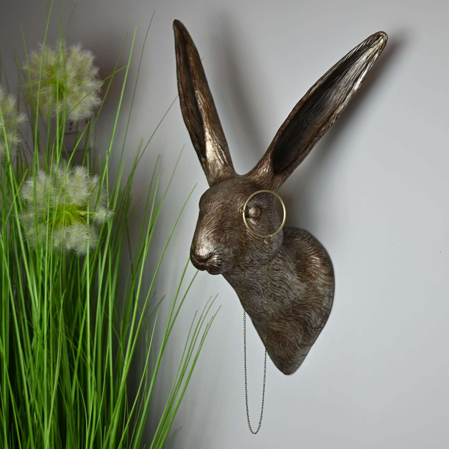 Antique Silver wall hanging Hare with monocle