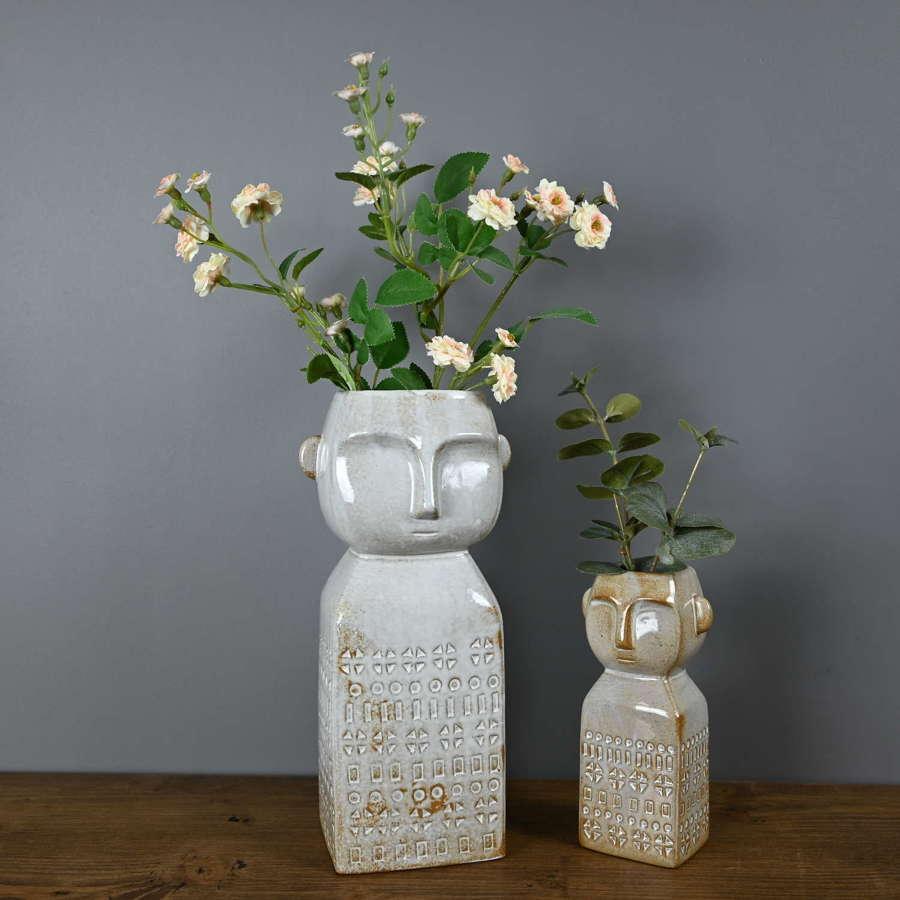 Merlin ceramic face vase