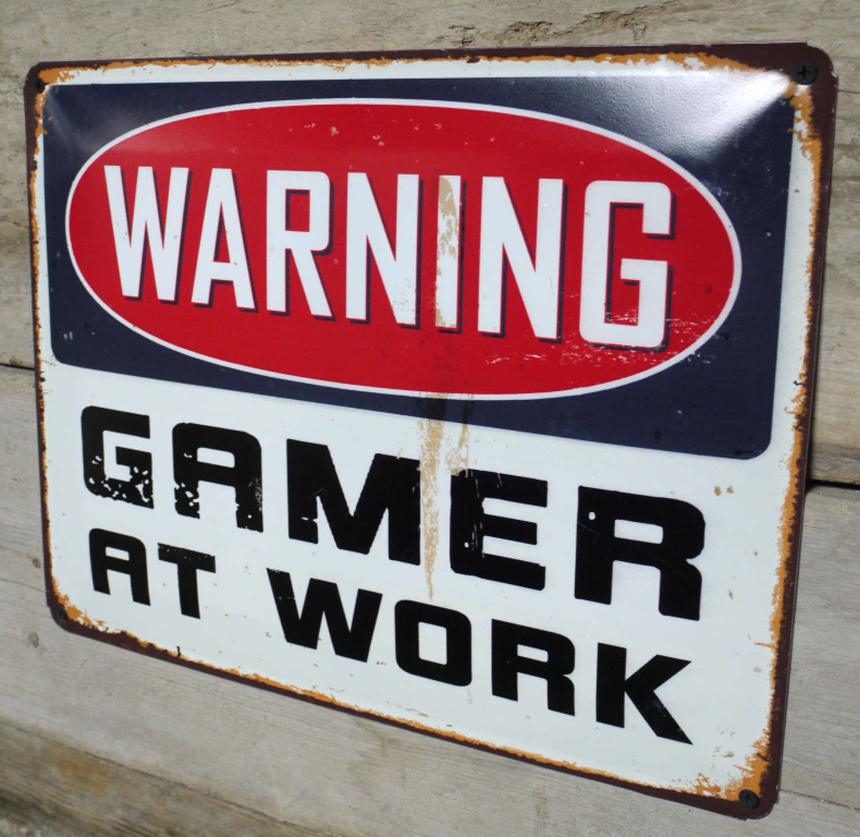Metal wall hanging Gamer at work sign