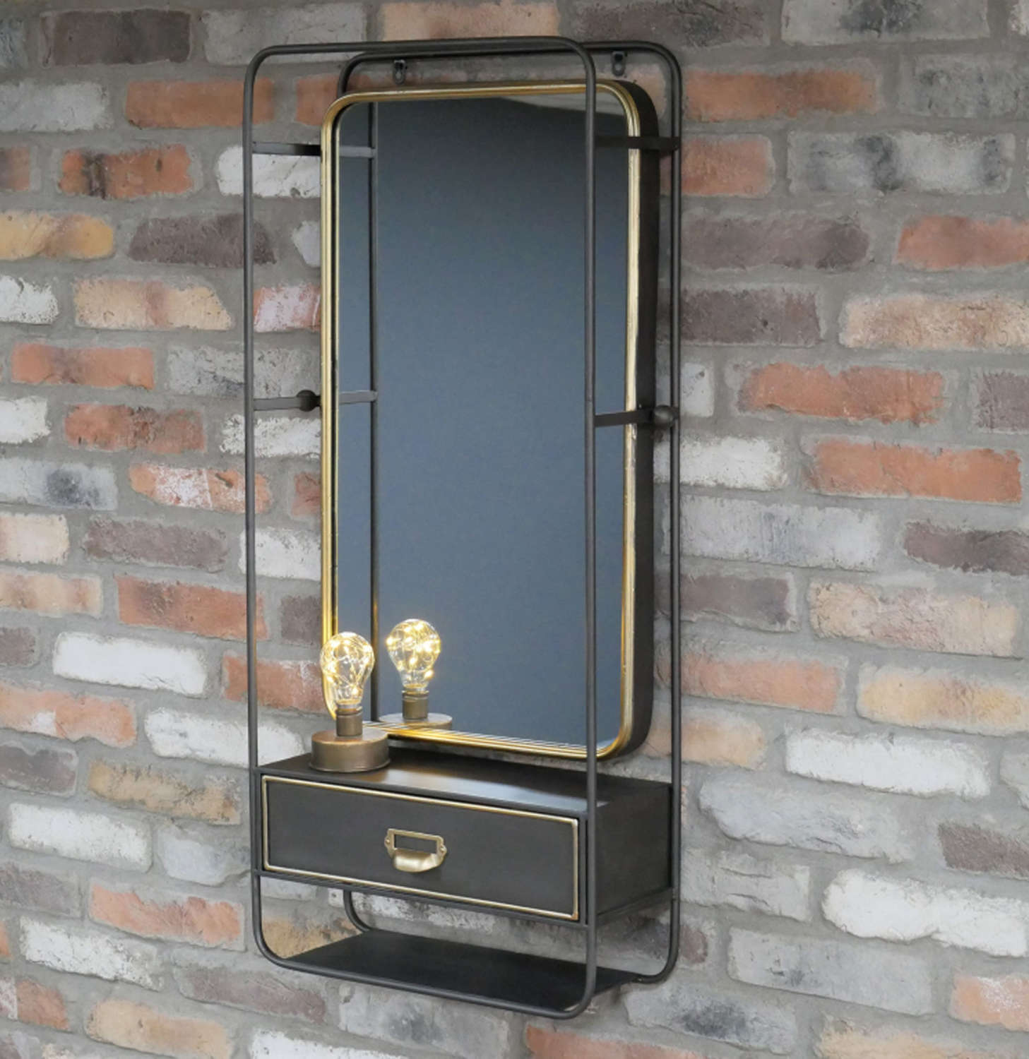 Industrial metal wall shelving unit with mirror