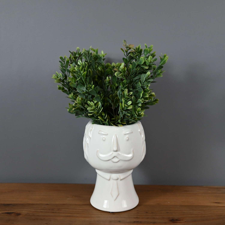 Sir Julius white ceramic face vase planter