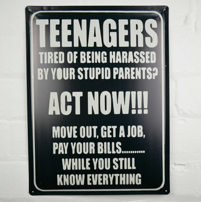 Teenager Metal wall hanging sign sign