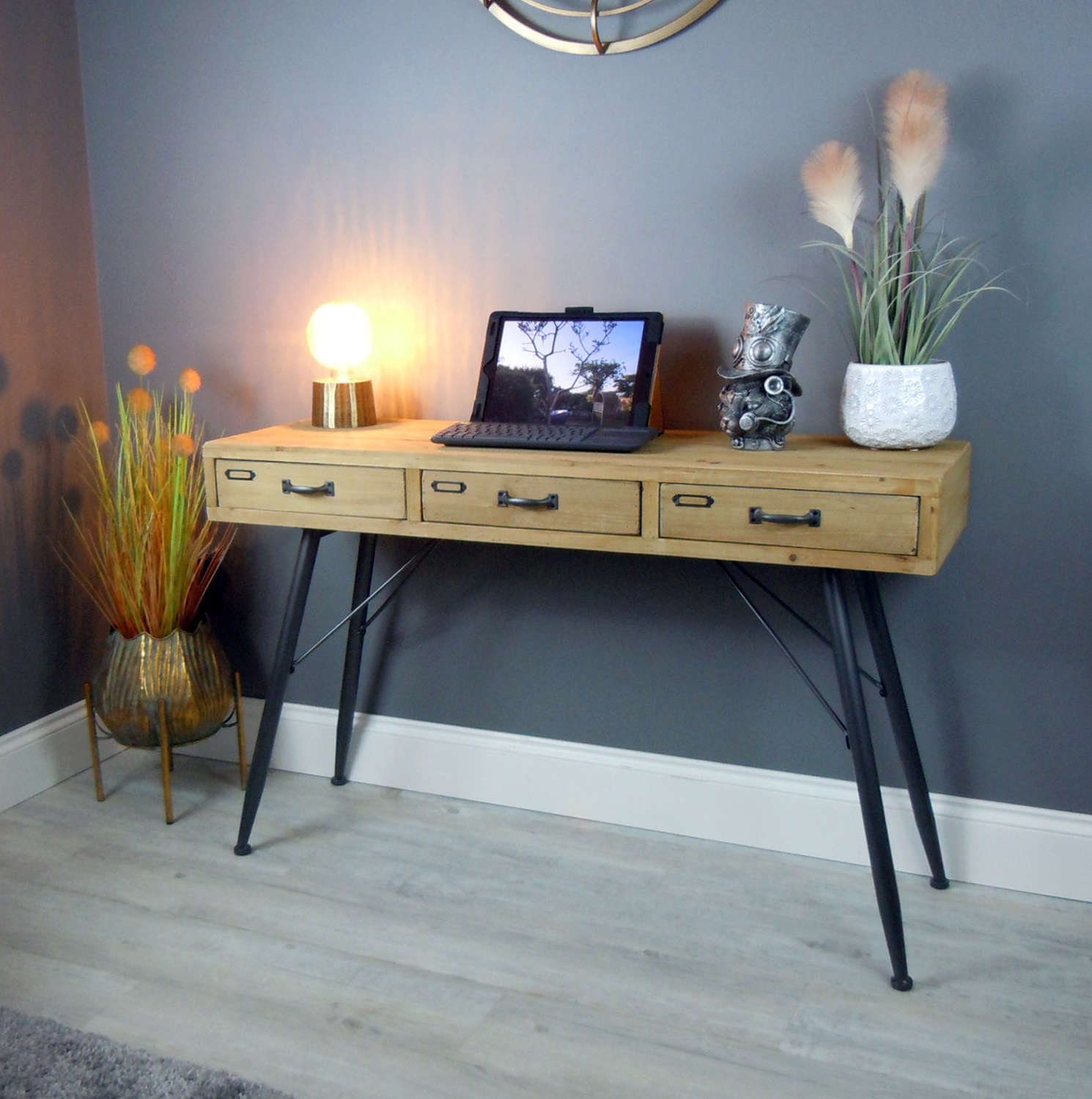 Urban style wood and metal desk with drawers
