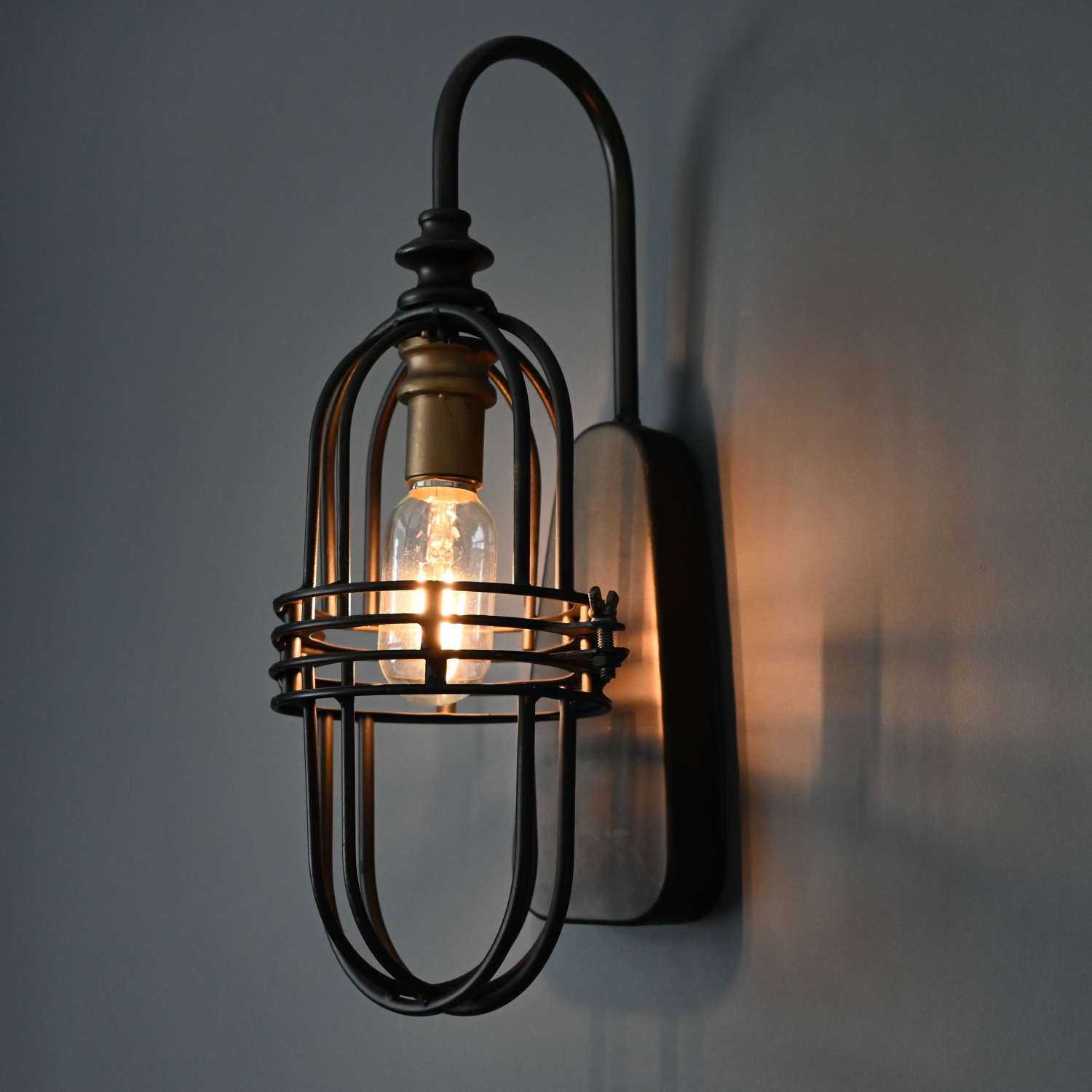 Industrial black metal battery operated wall light