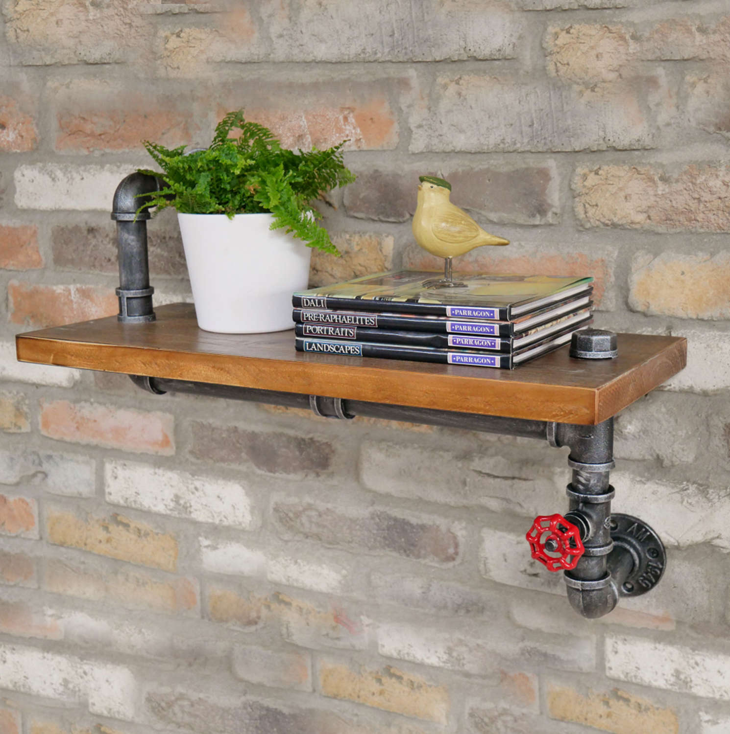 Industrial wooden shelf with steel pipes