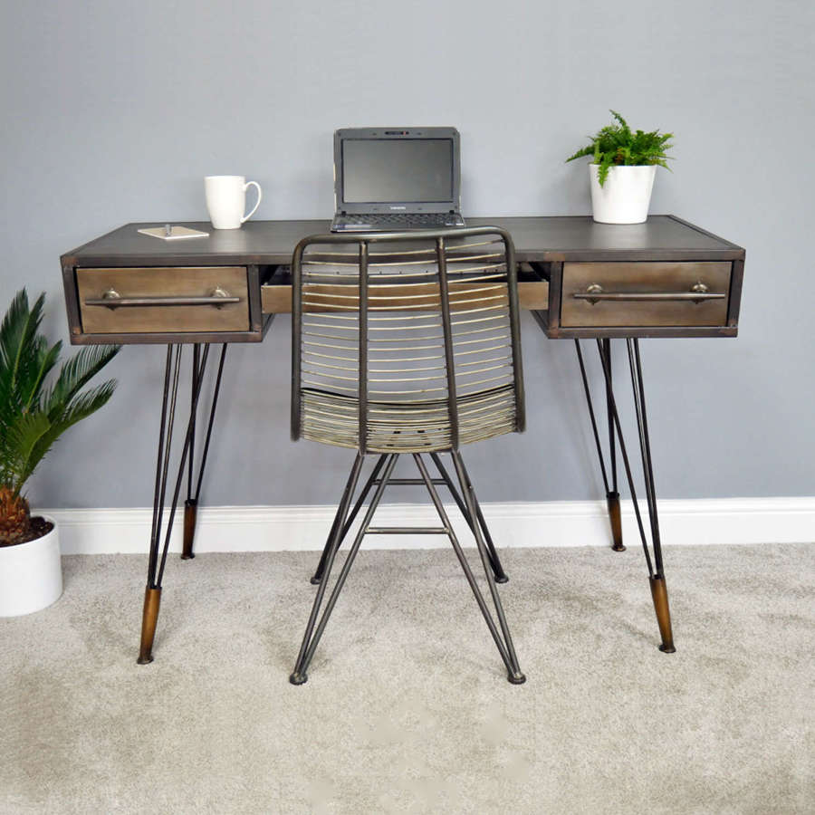 Industrial metal desk with hairpin legs